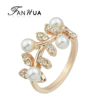 FANHUA FashionJewelry Rose Gold Color Silver Color with Simulated Pearl Rhinestone Flower Finger Engagement Rings Jewelry