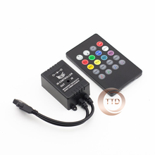 Free Shipping 2016 New Music IR Controller 20 key Remote Sound Sensor For RGB LED Strip Black