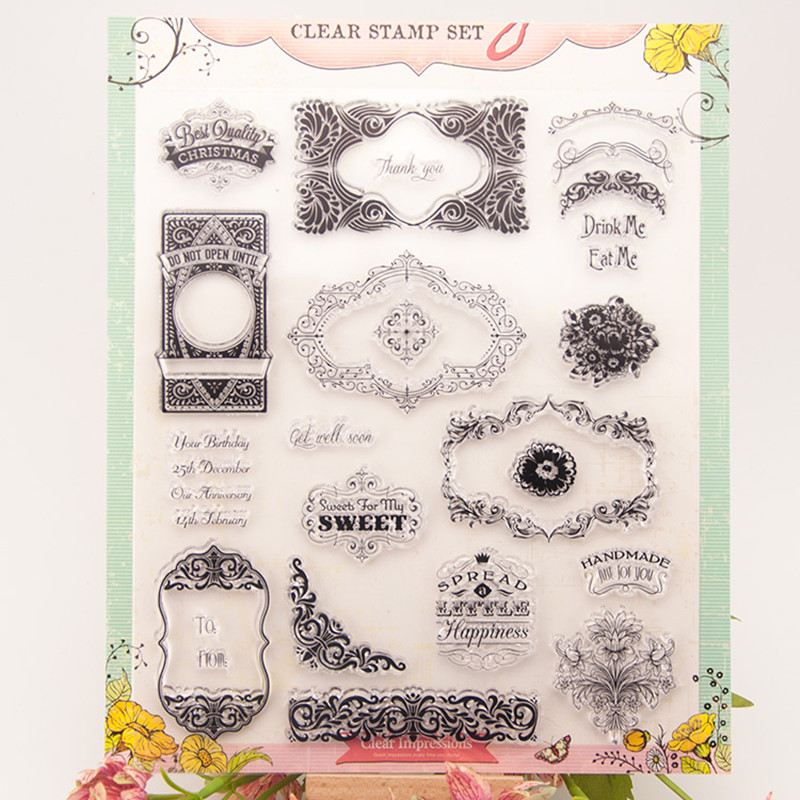 Alll kinds of frame Silicone Transparent Stamp Photo Cards Rubber Stamp DIY Clear Stamp Scrapbook Seal  19.5X23.5cm T0061<br><br>Aliexpress