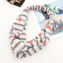 New Comfortable Fabric Fashion Classic Cute Net Yarn Watermelon Pattern Printing Summer Headband Female Headband(China)