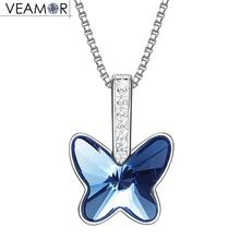 Veamor romantic blue butterfly pendant necklaces for women real 925 sterling silver jewelry original crystals from swarovski(China)