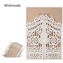 Wishmade Brand 25PCS/Lot Newest Wedding Invitation Cards Vertical Shape Door Gate Design Open Style Laser Cut Invitation Cards