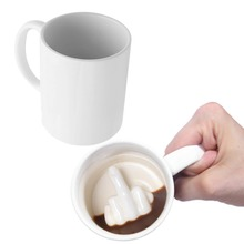 Creative Design White Middle Finger Style Novelty Mixing Coffee Milk Cup Funny Ceramic Mug Enough Capacity Water Cup(China)