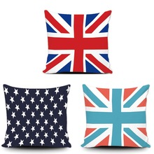 Vintage UK Flag Star Cushion Cover Classical America Flag Cotton Pillowcase Custom Mpdern Sofa Car Couch Cushion Case For Gift(China)