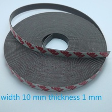 10 Meter Rubber Magnet 10*1 mm self Adhesive Flexible Magnetic Strip Rubber Magnet Tape width 10 mm thickness 1 mm(China)