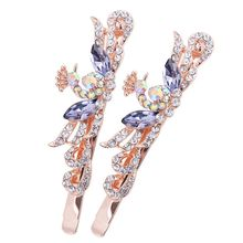 Korean Women Girls Butterfly Peacock Hair Clips Crystal Rhinestone Barrette HairpinS Hairband Clamp Hair Accessories(China)