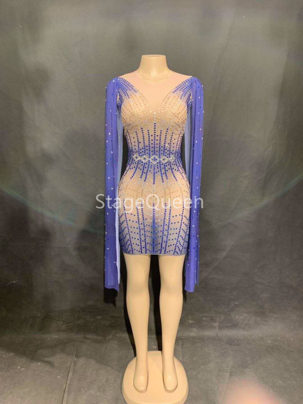 2019 Fashion Blue Long Sleeves Perspective Mesh Dress Women Celebrate See Through Dress Sexy Skinny Costume Dance Short Dress