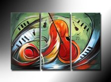 free shipping handpainted 3 piece modern abstract oil painting on canvas wall art instrumental music for home decoration