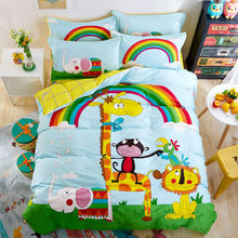 cute zoo style animals rainbow pattern sheets sets coverlets cotton linens twin/queen size duvet cover set 3/4pcs bedding sets