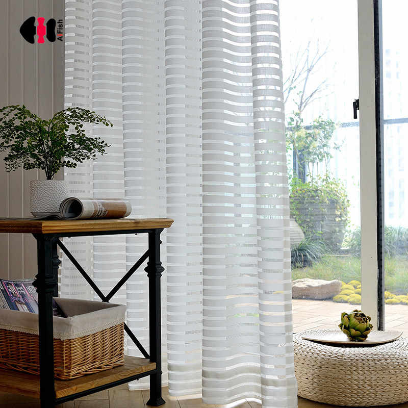 Solid Solid Horizontal Striped Curtains Jacquard Simple Modern Bedroom Living Room Balcony French Window Drapes Gauze WP135C