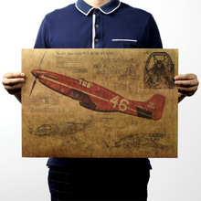 Mustang Fighter Aircraft Structural Retro Poster Design Drawings Kraft Paper Mural Decoration Wall Sticker 51*36CM