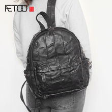 AETOO New head goat suede backpack Korean fashion rivets large capacity travel shoulder bag(China)