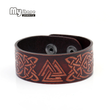 my shape Leather Bracelets for women Slavic Norway Valknut Pagan Amulet Totem Alibaba express Snap Button Jewelry custom