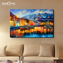 100% hand-painted landscape oil painting venice on canvas abstract paintings Italy yellow wall art pictures for living room