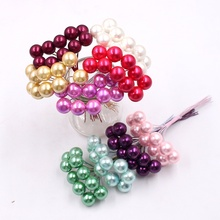 50pcs 12mm plastic foam pearl stamens small berry artificial bouquet wedding party decorations DIY wreath gift clip cut flowers