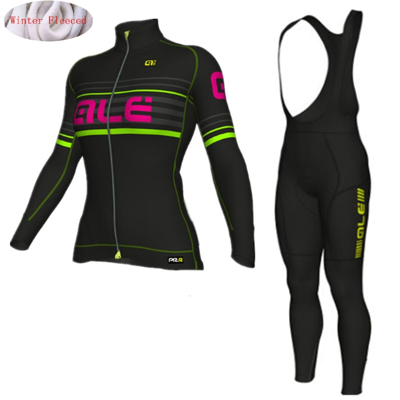 ALE 2017 Women Cycling Jersey Winter Thermal Fleece Bicycle Cycling Jersey Bib Pants Super Warm Bike Clothing Gel Pad<br>