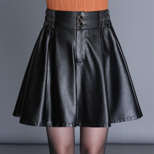 Buy 2017 Autumn Winter New Women Mini Skirt Elastic High Waist PU Leather Skirt Casual Line Ladies Faux Leather Skirts Plus Size for $25.98 in AliExpress store