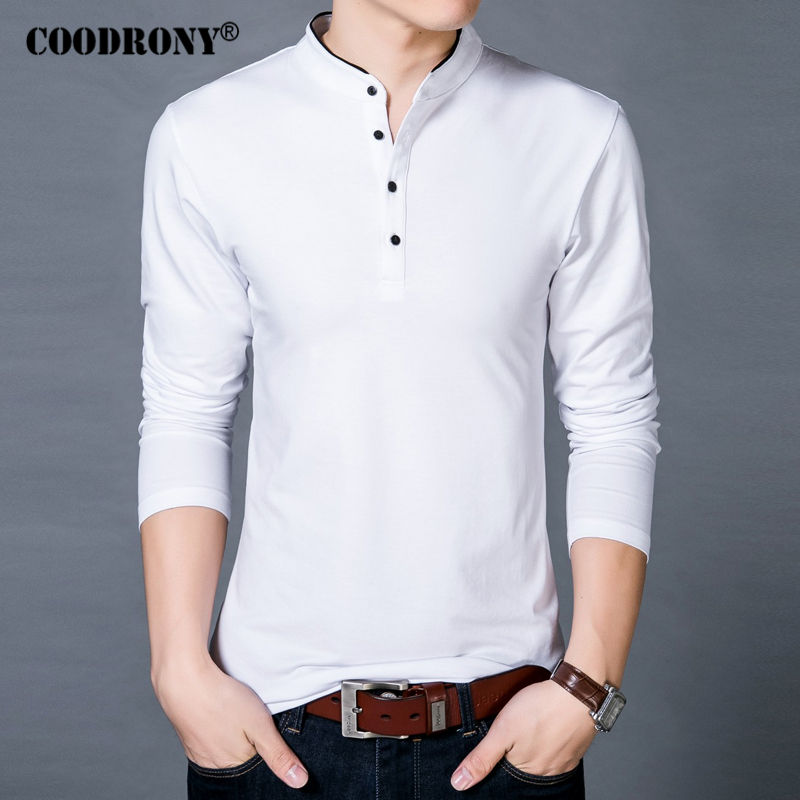 COODRONY T-Shirt Men 2017 Spring Autumn New 100% Cotton T Shirt Men Solid Color Tshirt Mandarin Collar Long Sleeve Top Tees 7608(China (Mainland))
