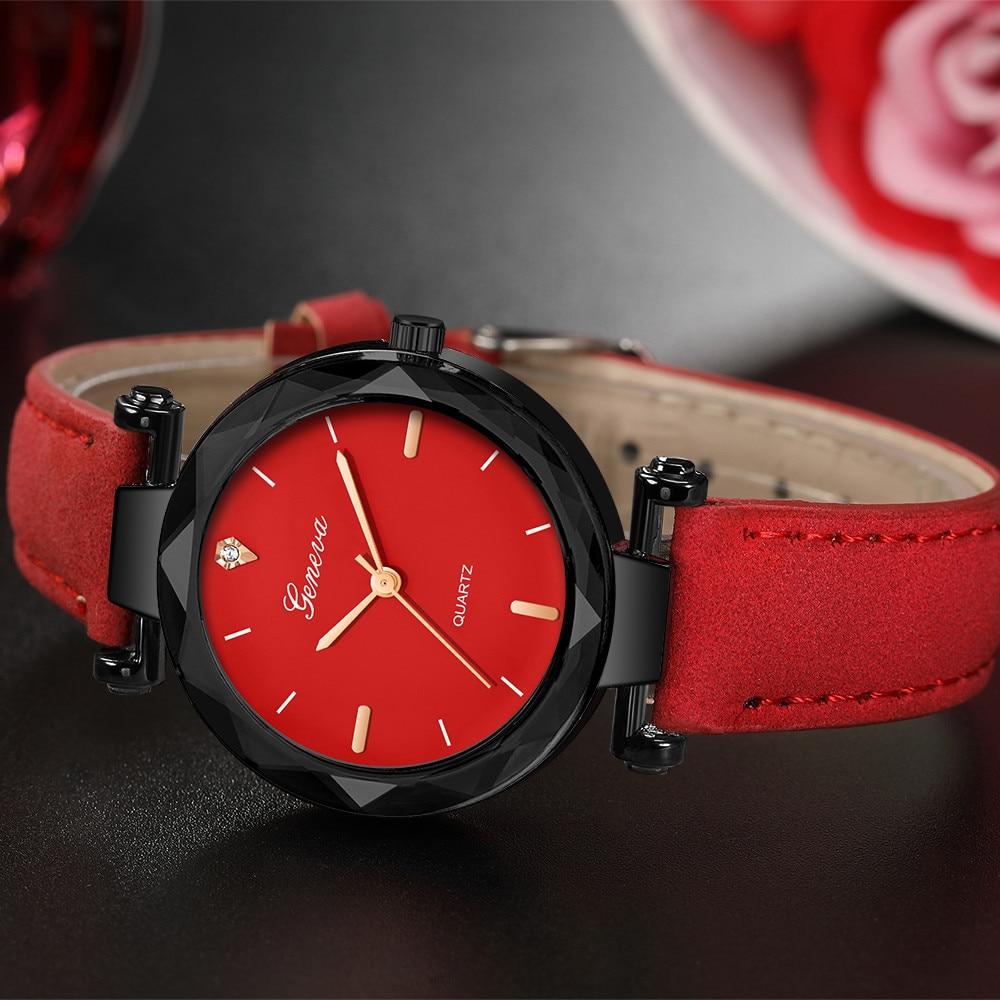 Fashion 2019 New  Geneva Women Leather Band Quartz Analog Wrist Watch Wristwatch Clock Gift Female watch High Quality Clock#8