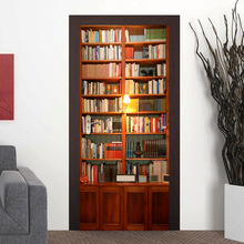 2 pcs/set Retro Book Cabinet Wall Stickers DIY Mural Bedroom Home Decor Poster PVC Waterproof Imitation 3D Door Sticker Decal E
