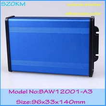 Diy extruded small  aluminum enclosure in L abs plastic end panels in beautiful blue color