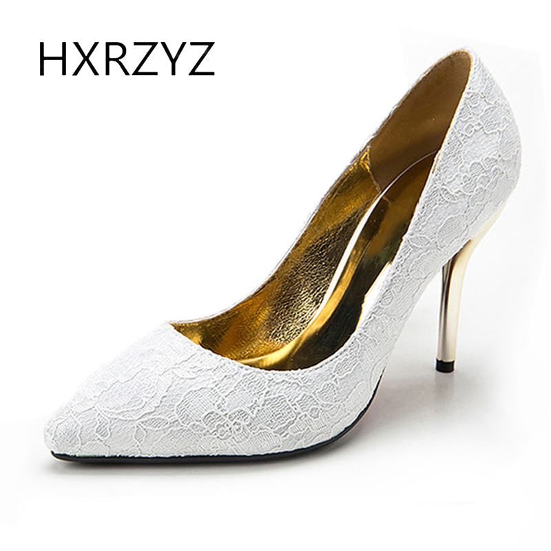 HXRZYZ wedding shoes 2017 women high heels fashion ladies paragraph lace pattern pointed toe bride super high heeled women pumps<br>