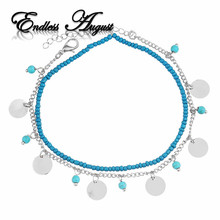 2017 Summer Beach 2 Color Double Layers Anklets Barefoot Sandals Anklets For Women Beach Foot Jewelry Foot Chain Bohemian