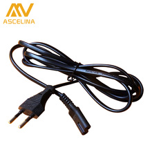 ASCELINA 1.5 meters T5 T8 Power Cord Cable EU 2-Prong Laptop AC Adapter Lead 2 Pin Top Sale black one piece LED Lamp
