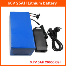 Free customs fee 60V 3000W Lithium Scooter Battery 60V 25AH Electric Bike Battery 3.7V 26650 cell 50A BMS 67.2V 2A Charger