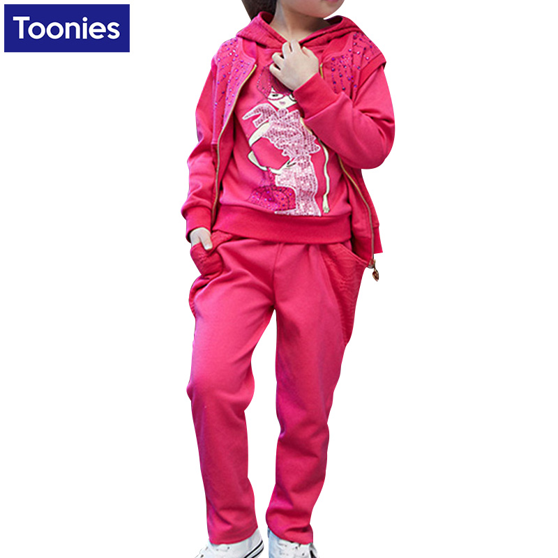 2017Leisure Sportswear Three-Piece Children Spring And Autumn Casual Tracksuit Hoodies Pants Vest  Top Quality Hot Sale 2 Colors<br><br>Aliexpress