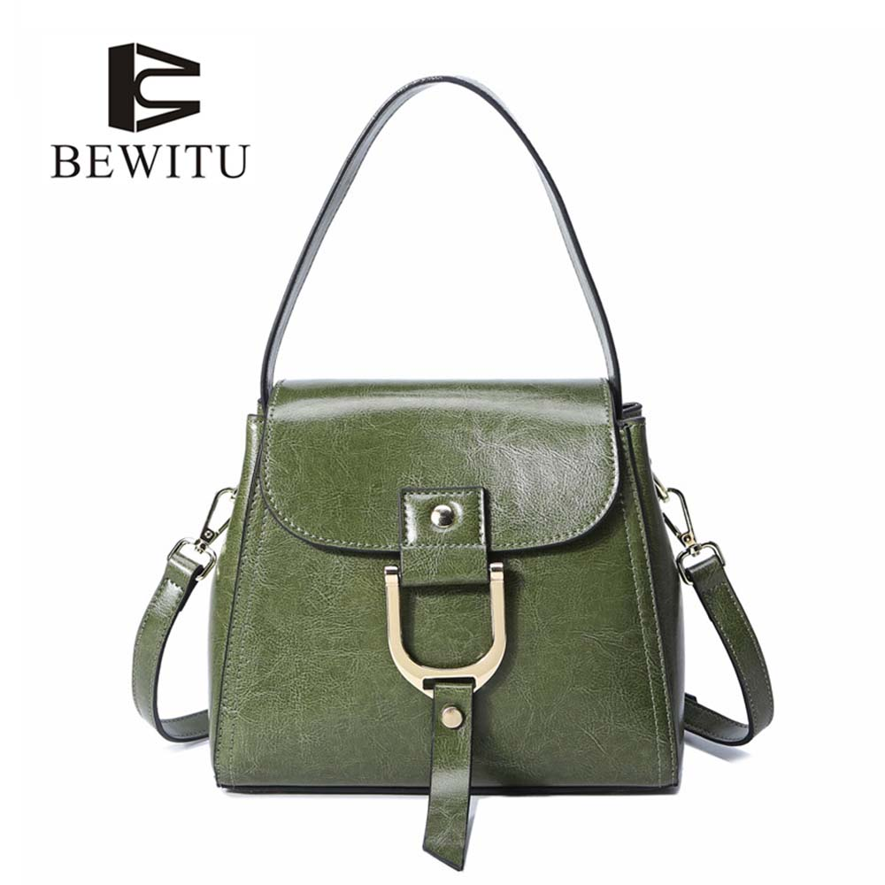 BEWITU Western Style Women Cow Leather Handbags Shoulder Bag Casual Green Small Hand Bag for Office Ladies<br>