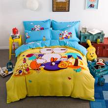 Hundred cotton,  four (a quilt cover, sheet, two pillowcases)Flowers  cartoon cute Cute cartoon The giraffe is the train
