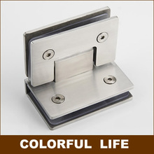 Solid 304 stainless steel bathroom folder Bathroom glass clamp,  Hinge,90 degrees,hardware for Bilateral glass clip