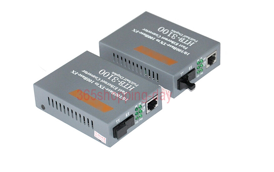 Fiber Optical Media Converter 10/100Mbps RJ45 Single mode SC Port  25KM Media converter HTB-3100AB 1Pair FREE SHIPPING