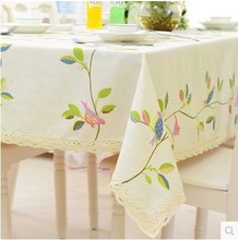 Bird Printed White Table Cloth Toalhas De Mesa Table Linen Tovaglia Table Overlays For Weddings Table Covers Home Textile