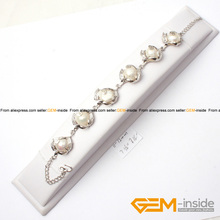 "11-12mm Freshwater Pearl Tennis silver Plated Bracelet 7.5"" classical bracelet for party for gift Free Shipping"