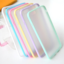 Fashion Candy Colors Tpu Jelly Border + PC Transparent Matte Back Cover Phone Case For iPhone 4 4S 5 5S SE 6 6S Plus Cases