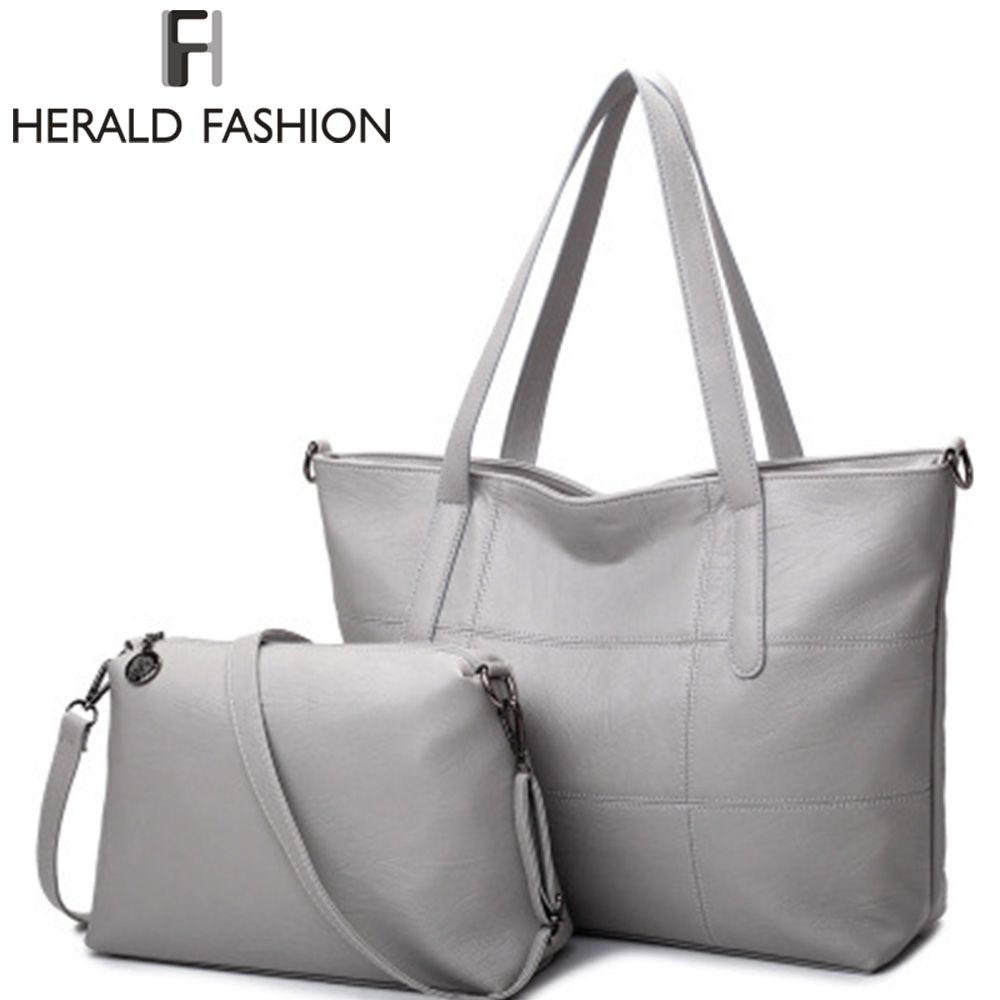 Herald F Luxury Handbags Women bag Leather Bags Casual Tote Gray Shoulder bags Solid Soft Zipper Composite Bag SET<br>