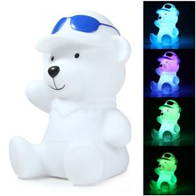 LED Night Light Bear Design Cartoon Lamp Decorative Lighting with Rainbow White Light  For Bar, Cafe, Restaurant, Home, Hotel