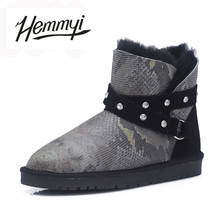 Hemmyi Top quality 100% sheepskin leather winter warm boots women 100% wool snow boots Australian style fashion ankle boots(China)