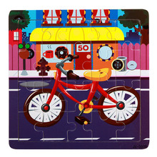 2017 New Wooden Tangram/Jigsaw Board Bike Wood Puzzle Jigsaw for Children Kids Early Educational Toy For Boy girls(China)