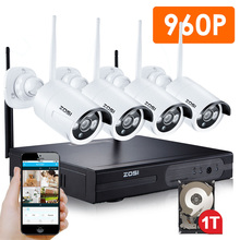 ZOSI 4CH 960P HDMI NVR 4PCS 1.3 mp IR Outdoor Weatherproof P2P CCTV Wireless IP Camera Security System Surveillance Kit 1TB HDD