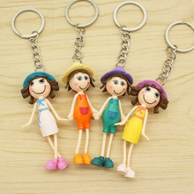 Wholesale Small Gift 5pcs/lot PVC Cute Girl with Straw Hat Dolls KeyChain Women Trinket Car Key Chains Key Ring Charms Llaveros(China)