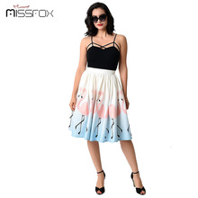 2017 Spring 3D Digital Print Flamingo Bird Skirts Women High Waist Mid Length A-line Skirts Women Sun Umbrella Puff Skirts