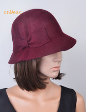 Wholesale NEW Magenta red black wine 100% Wool felt hat/winter hat with felt bow,best choice for winter/church.FREE SHIPPING(China)
