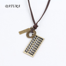 Men's Women's Unisex Circle   Fashion Abacus Charm Pendant Brown Genuine Leather Necklace Cord.