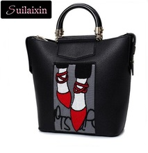 Women Embroidery Handbags Brand Famous Leather Cartoon embroidered Bags Ladies Luxury Large Totes Bag Paris France Fashion Bag