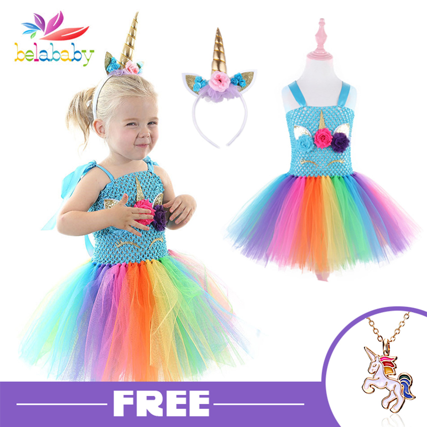 Tulle Girls Unicorn Dress Pink Rainbow Princess Girls Birthday Party Dress Children Kids Halloween Unicorn Costume 3 6 8 10 12T