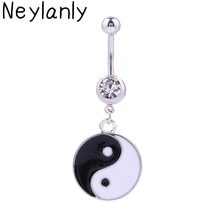 12PCS Belly Button Rings Body Piercing Jewelry Dangle Yin Yang Crystal 14G Surgical Steel Piercing Navel For Women Girl(China)