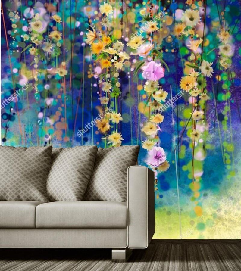 Custom vintage floral wallpaper,Abstract flower art watercolor wallpaper papel de parede,living room TV sofa wall bedroom mural<br>